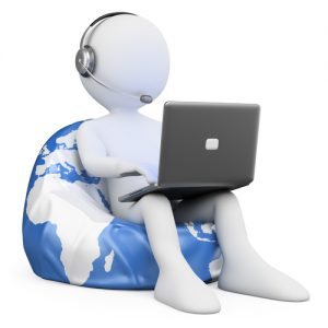 3d white person sitting on Earth browsing internet with a laptop. 3d image. Isolated white background.